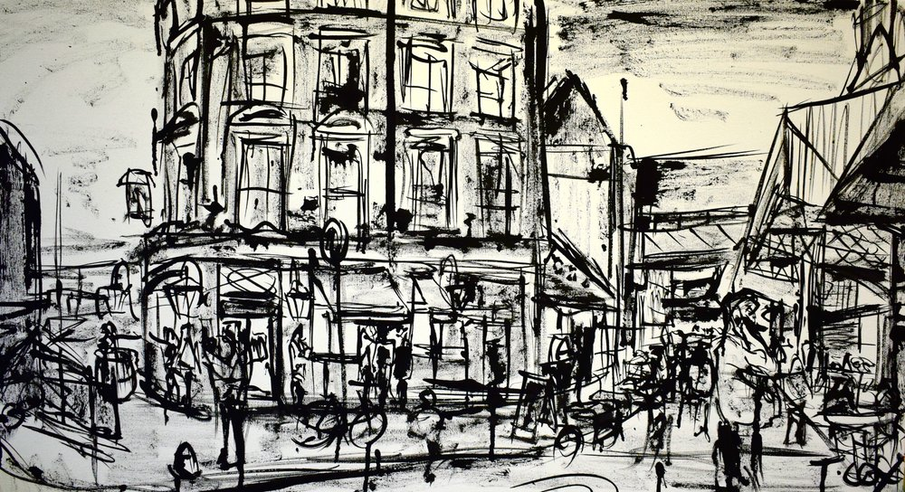 Around the Corner, Borough Market, 2017   Indian ink on canvas | 100 x 55 cm | SOLD