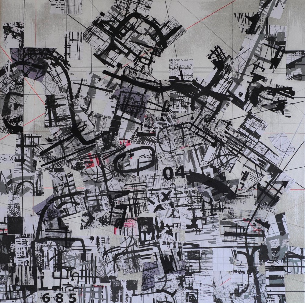 Between Here and There, Map H, 2018 | Reconstructed Drawing on Canvas | 60 x 60cm