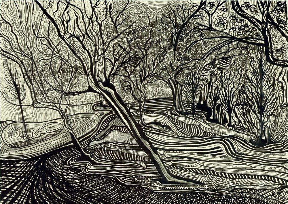 Landscape in Dimensions, 2014 | Ink on paper | 96 x 72 cm (framed) | £3,150