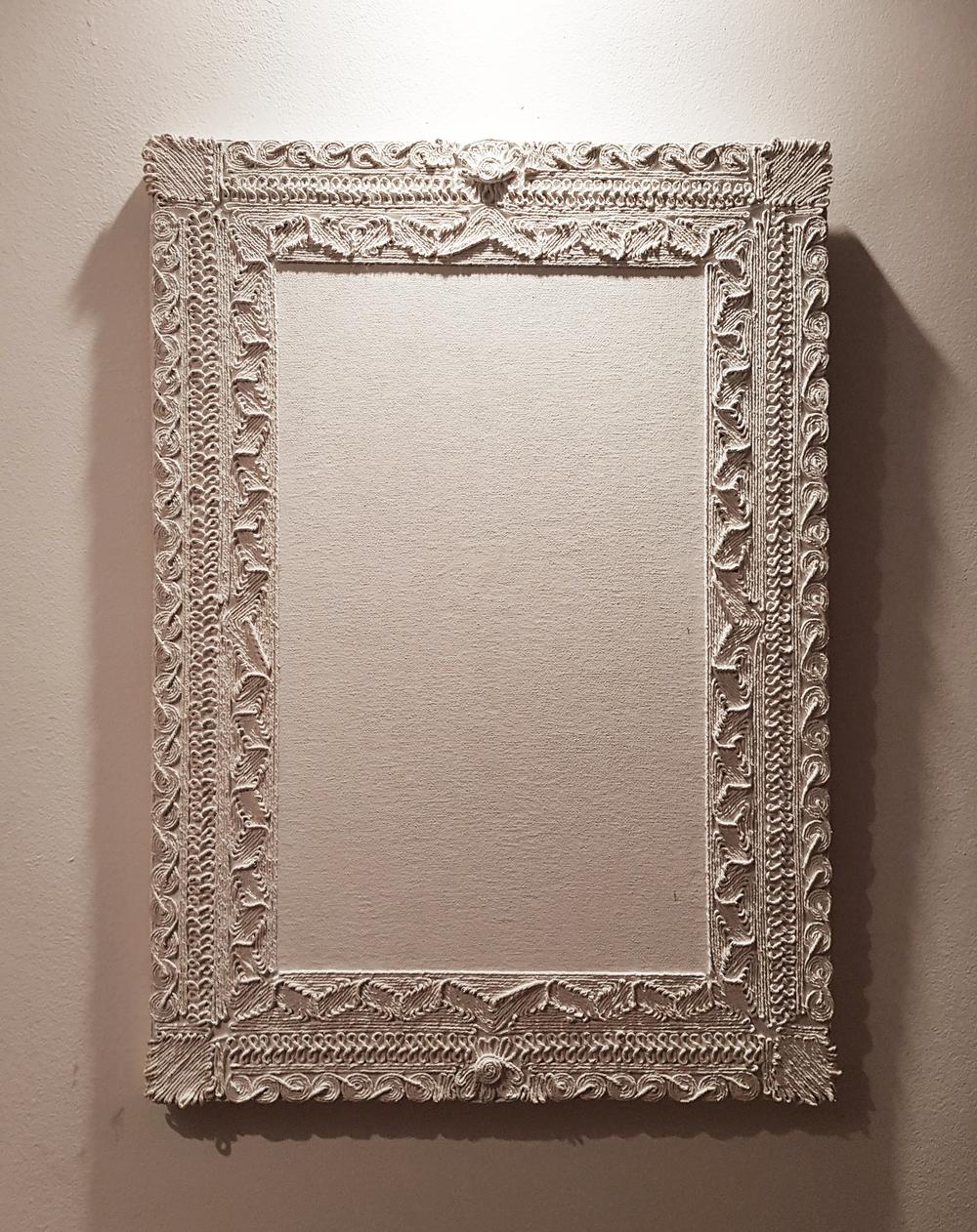 Limites,2014 | Tela, cola branca, barbante | 50 x 70 cm | R$ 6,000