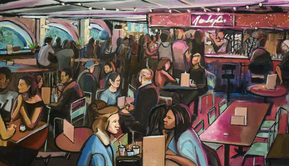 Near and Far Bar, 2018 | Ink & oil on canvas | 80 x 40 cm | £750