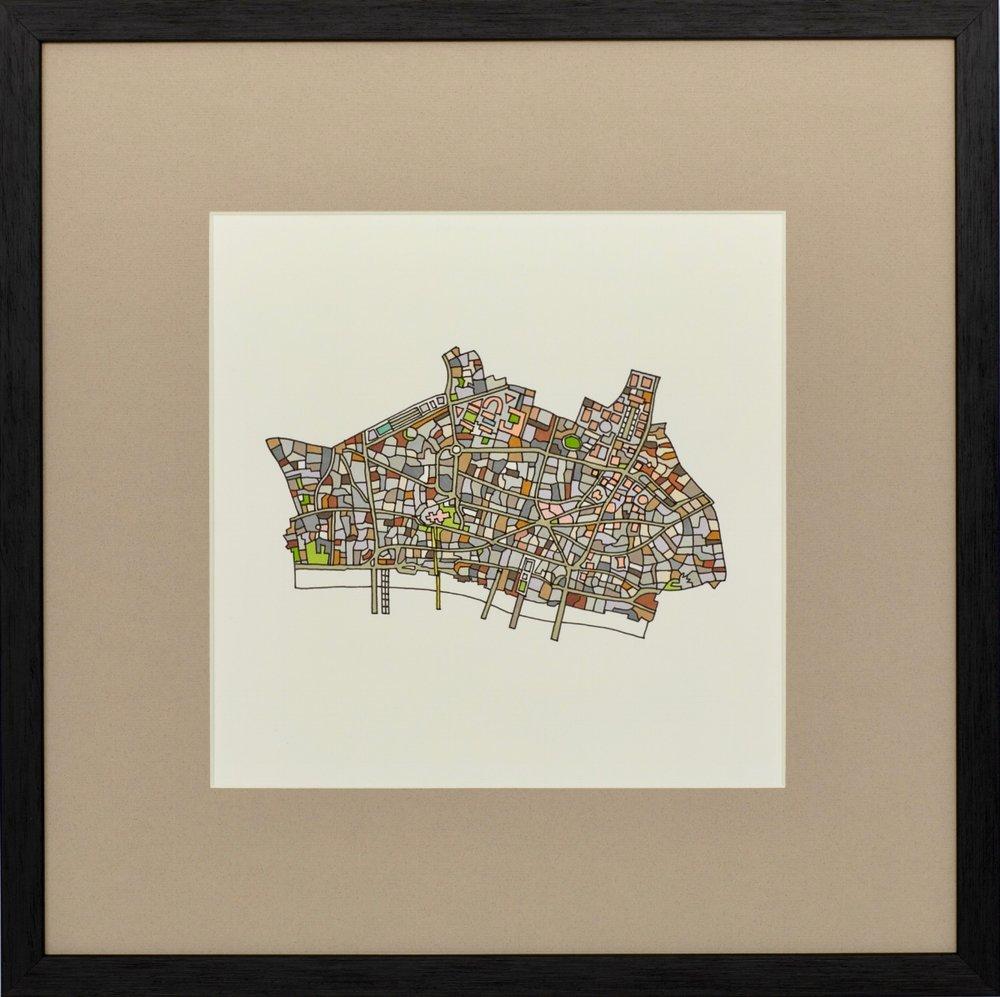 City of London 2018 | Ink on Paper | 44 x 44 cm (framed) | £450