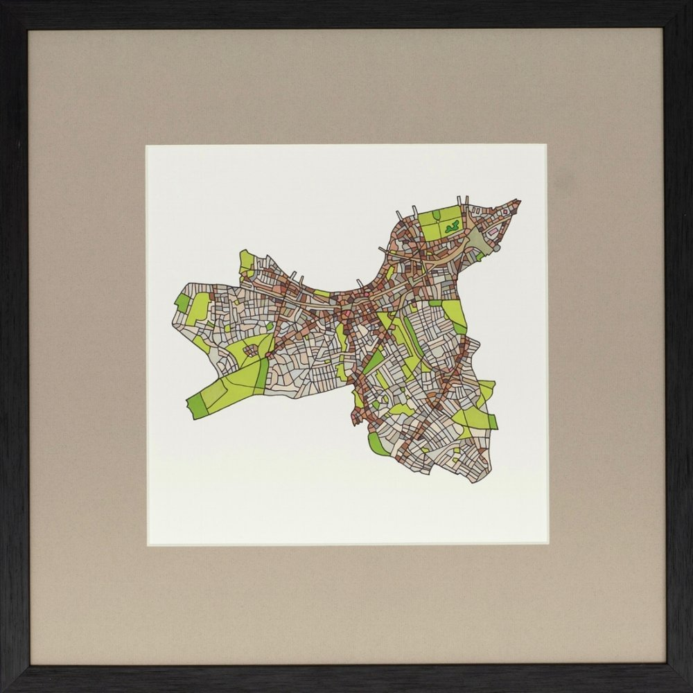 London Borough of Wandsworth 2018 | Ink on Paper | 44 x 44 cm (framed) | £450