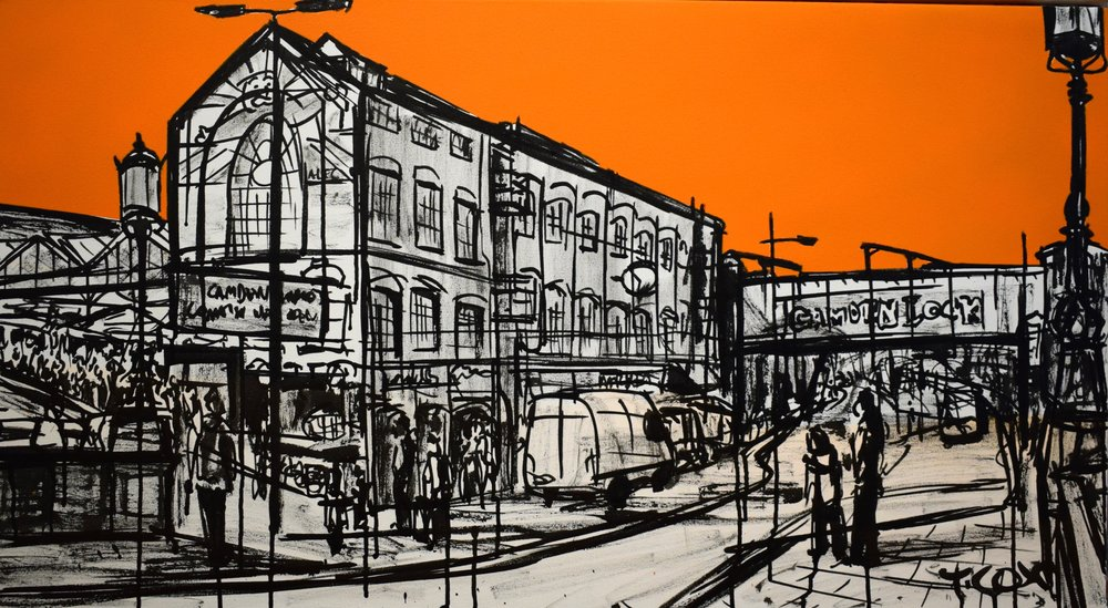 Camden Town, 2018 | Spray paint & Indian ink on canvas | 100 x 55 cm | £600