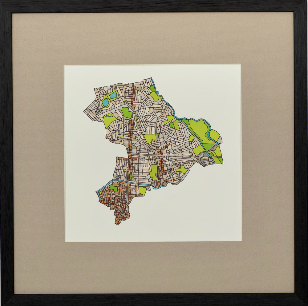 London Borough of Hackney, 2018 | Ink on Paper | 44 x 44 cm | £450 (framed)
