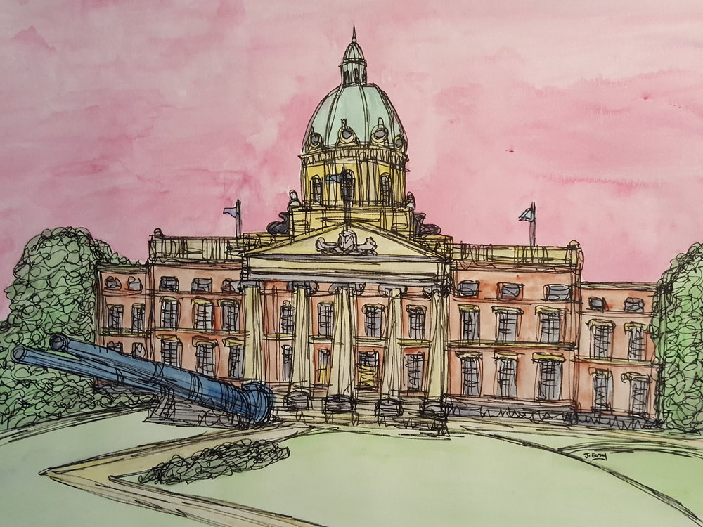 Imperial War Museum, 2018 | Watercolour & Fine liner on paper | 43 x 53 cm | £295