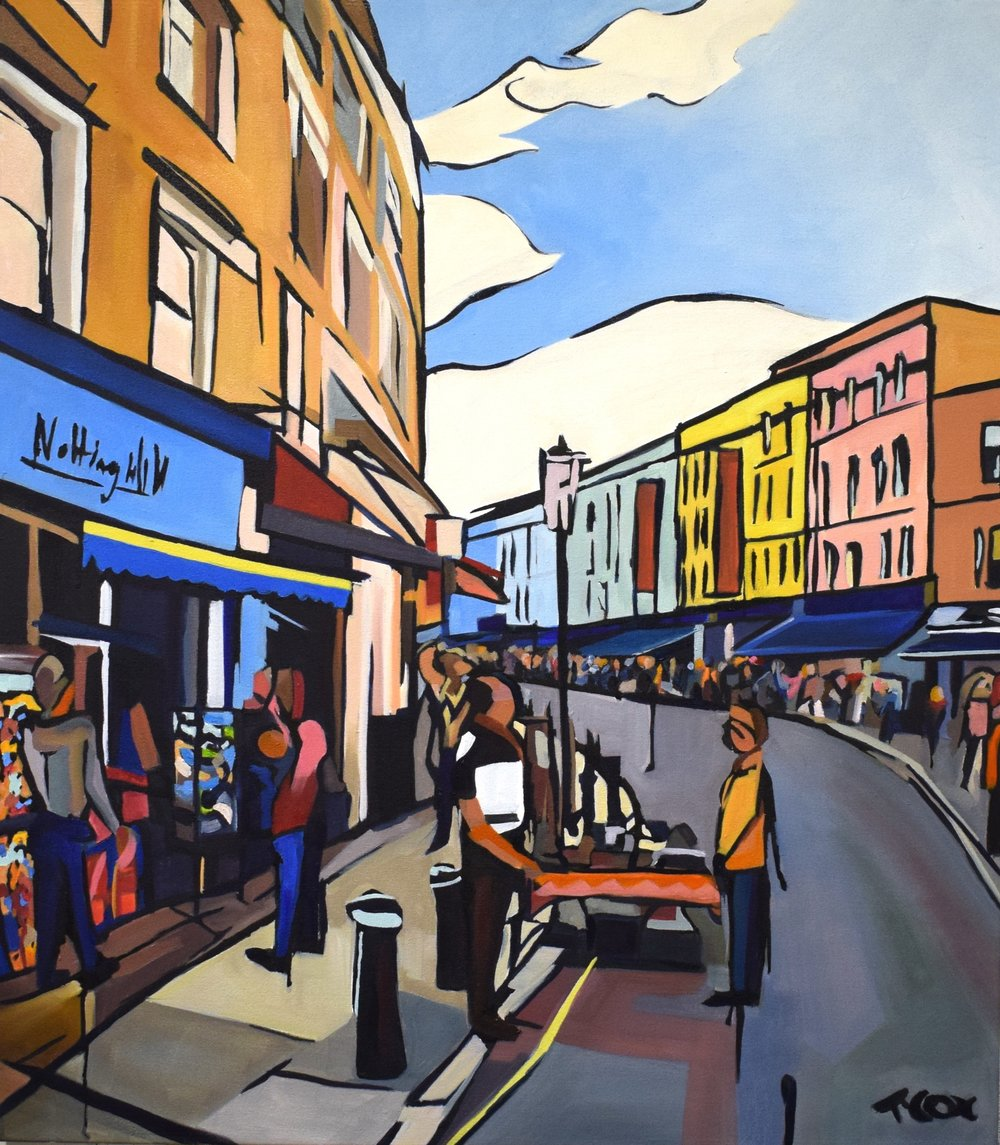 Pottering on Portobello, 2018 | Ink & oil on canvas | 70 x 80 cm | £1,250