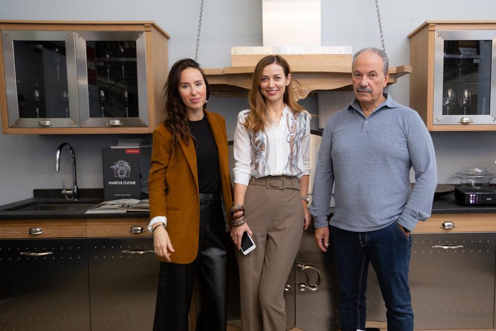 Наталья и Сергей (Салон Palazzo) и Юлия (B&C International) на кухне Dechora Marchi Cucine