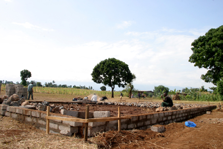 First classroom block construction.