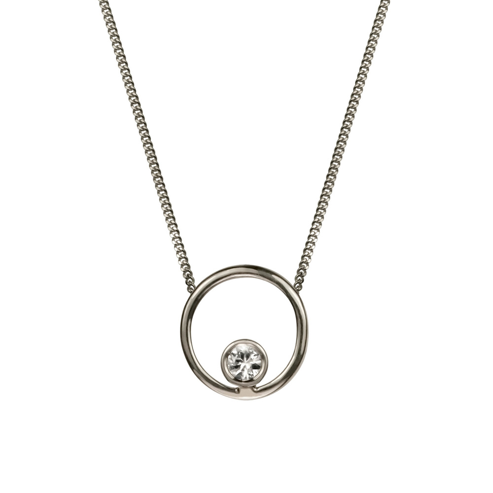 Halo Necklace - Silver & White Sapphire