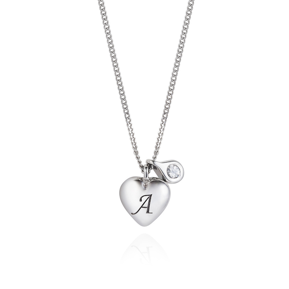 Heart Initial Necklace - Silver & Diamond
