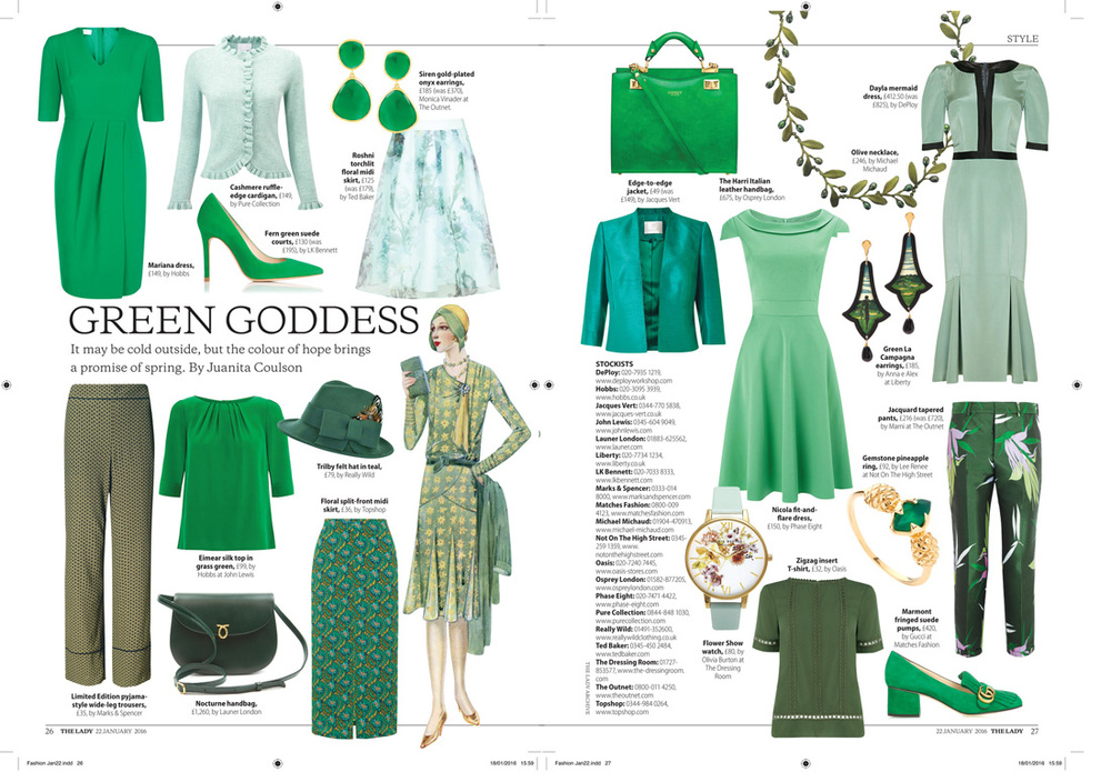The Lady Magazine - green goddess- Jan 16