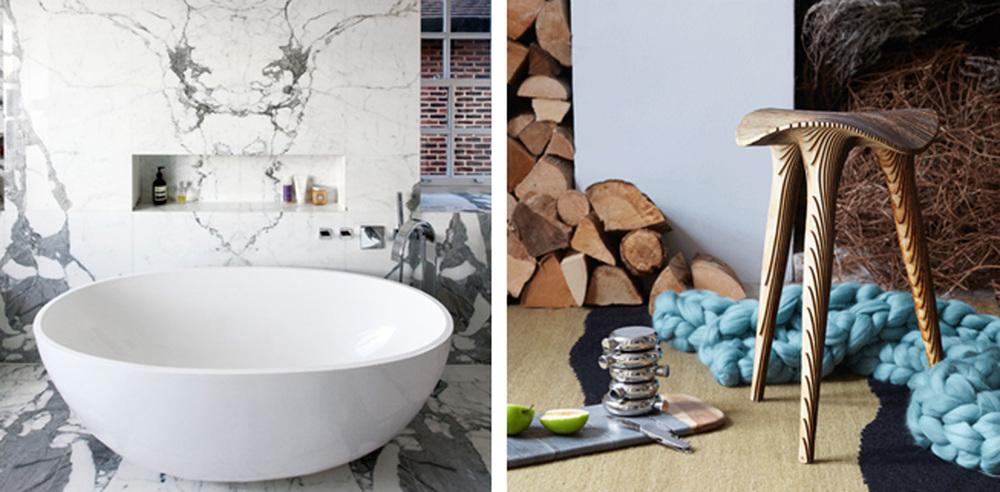 stone bath wooden furniture