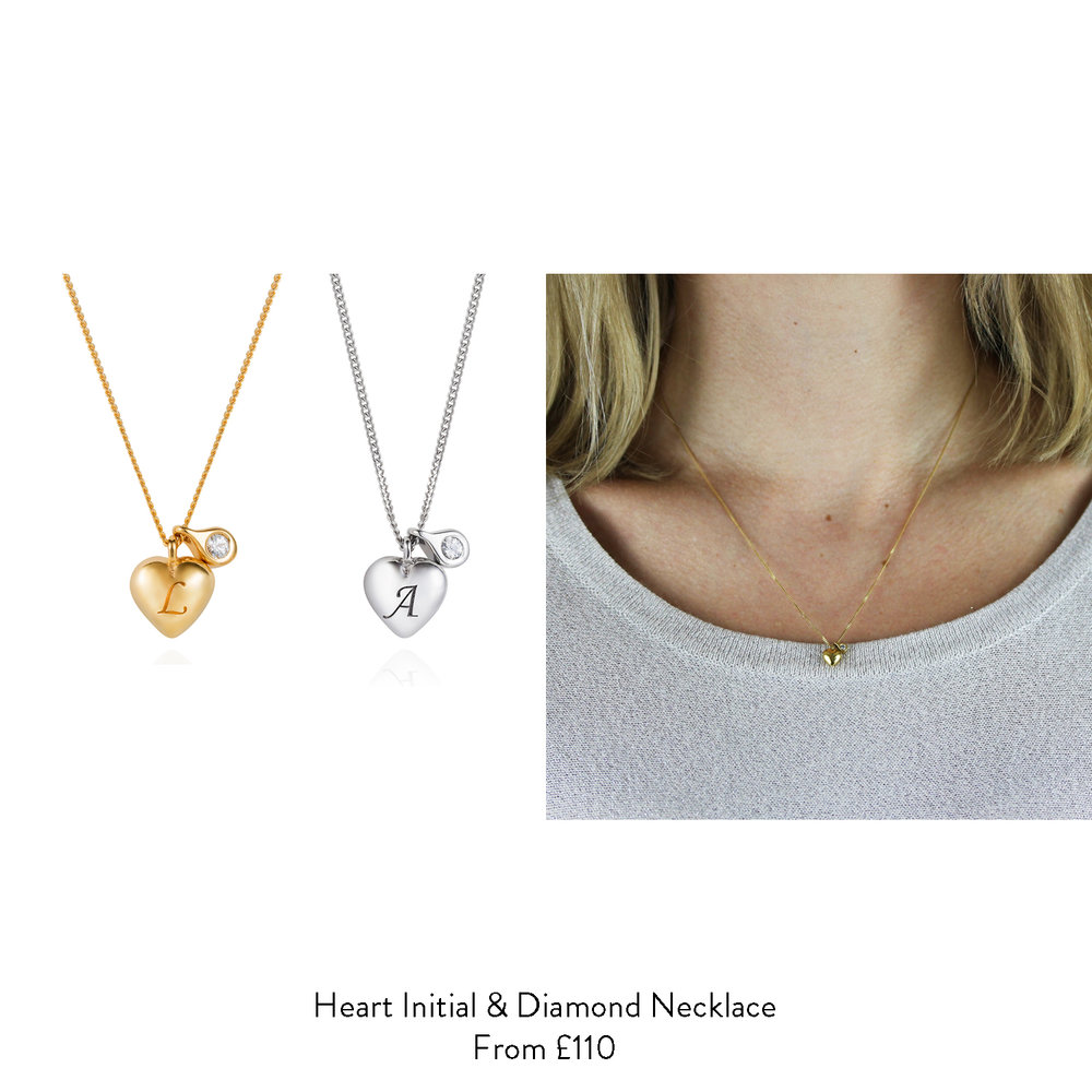 30th birthday gift ideas for her heart initial diamond necklace