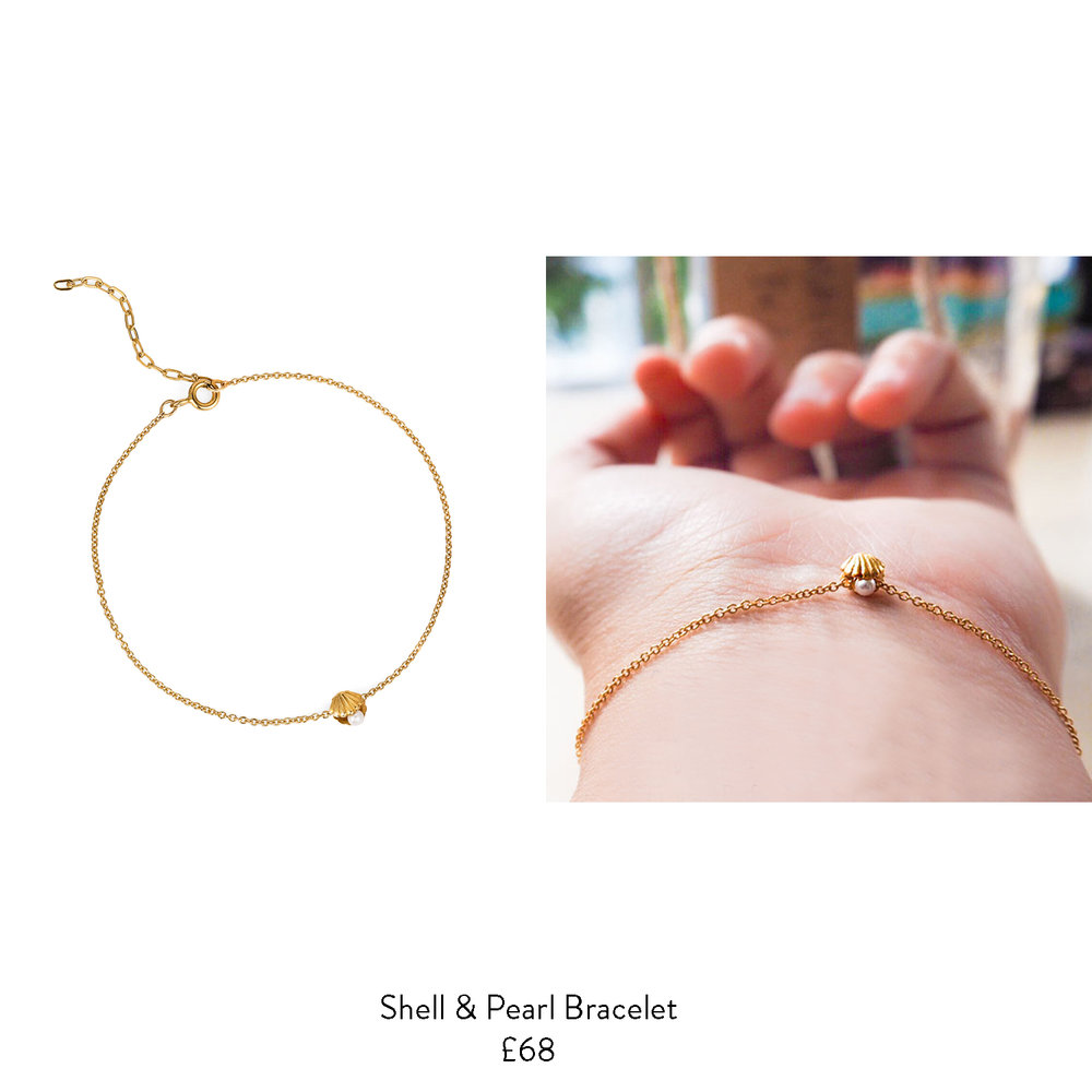 leaving gift ideas for her shell pearl gold bracelet