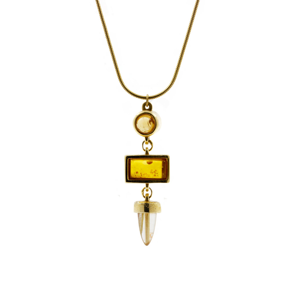 Amber and Rutilated Quartz Necklace