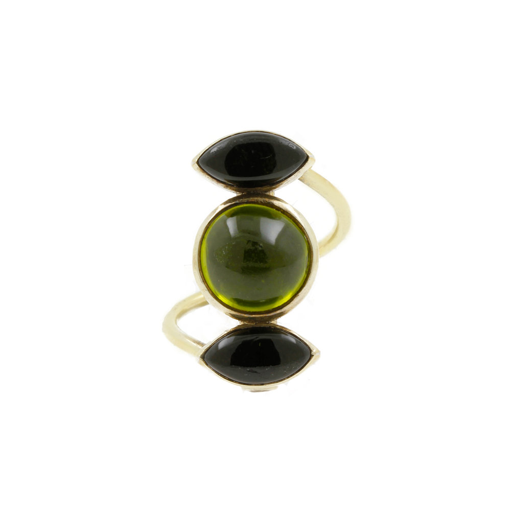 Peridot and Green Tourmaline Ring
