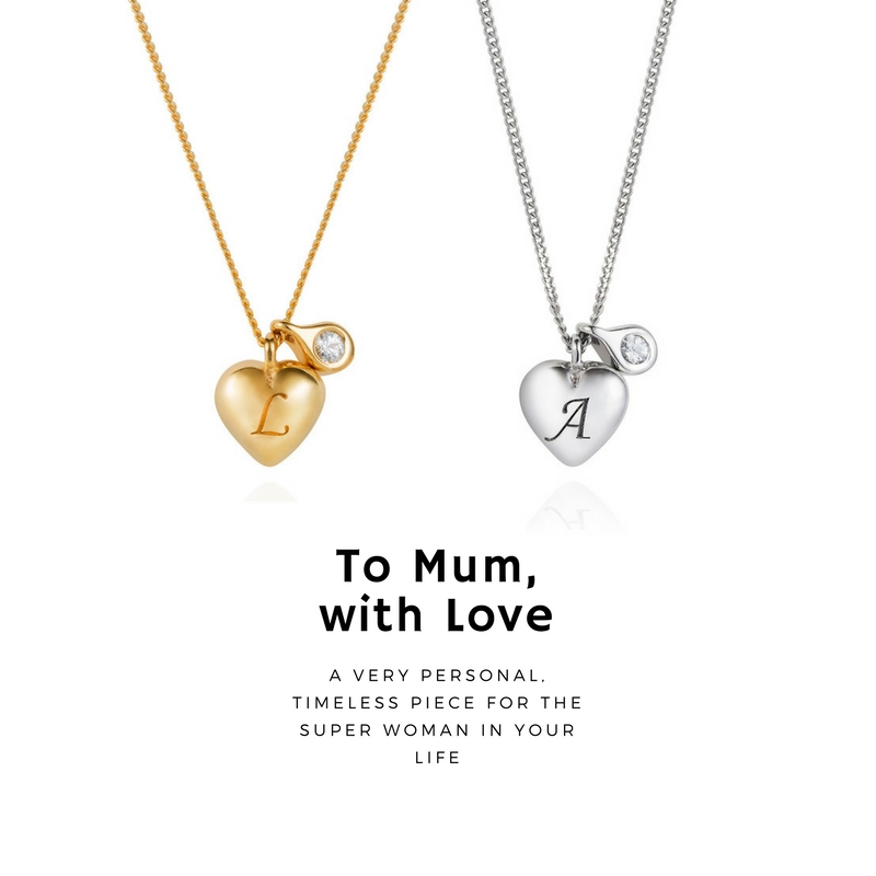 This delicate little heart necklace features a hand engraved initial of your choosing on the heart, and a diamond pendant which sits next to it - from £110