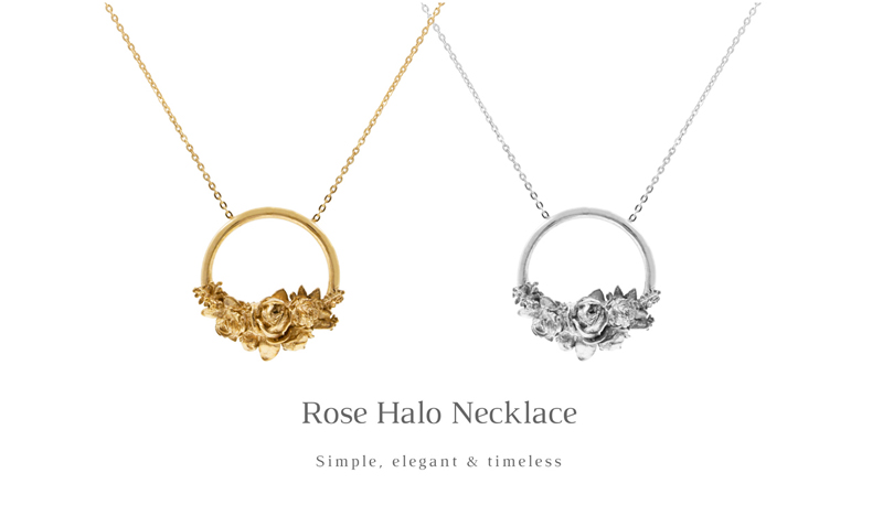Rose Necklace available in silver, rose gold or yellow gold vermeil