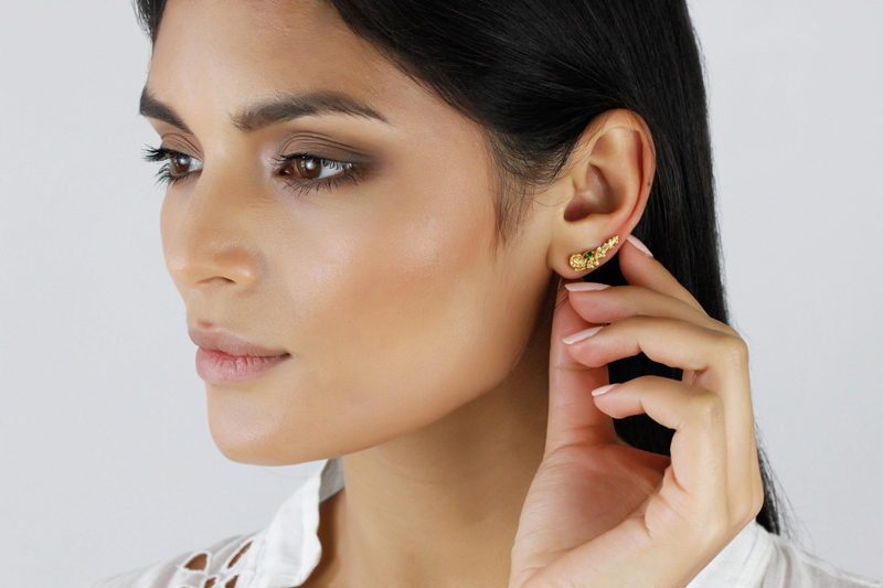 Rose Tourmaline & Diamond Climber earrings - sold singularly