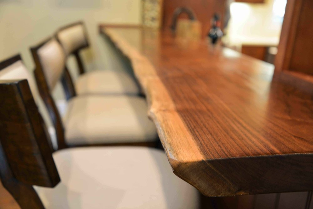 180 Spaces | Interior Design Turnarounds - Bar top featuring live edge walnut