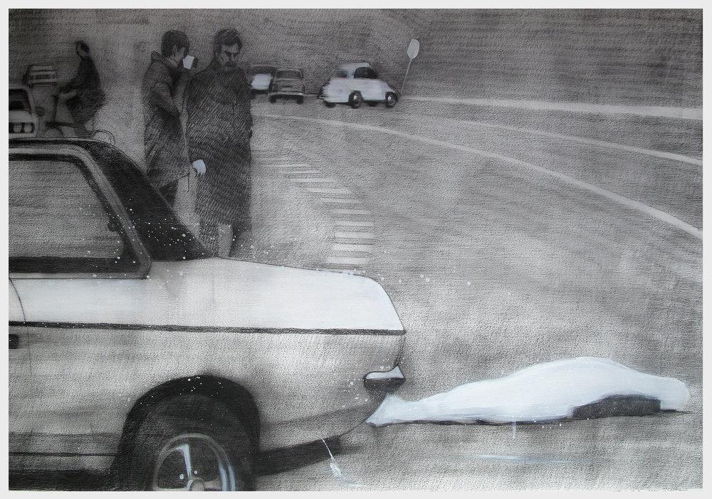 Der Feind, 2016, 100 x 70 cm, Graphit und Öl auf Papier, CHF 1'400.–