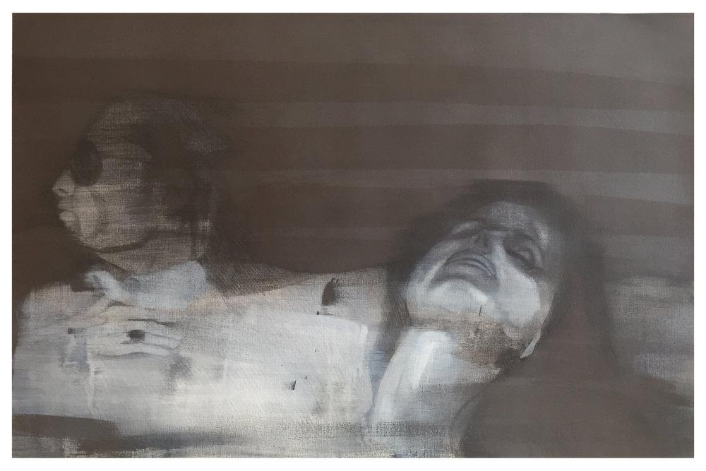 First We Take Manhattan, 2017, 100 x 70 cm, Graphit und Öl auf Papier, CHF 1'400.–