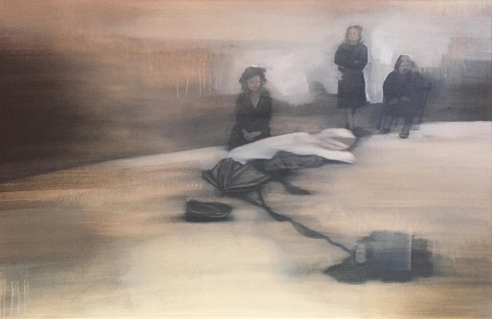 La Riunione 1, 2017, 100 x 70 cm, Graphit und Öl auf Papier, CHF 1'400.–