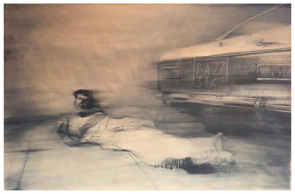 La Riunione 2, 2017, 100 x 70 cm, Graphit und Öl auf Papier, CHF 1'400.–