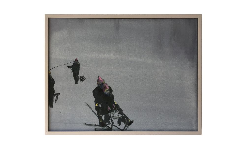 Schneebild 008, 2005, 80 x 60 cm, Öl/Acryl auf Leinwand, Gerahmt in Künstlerrahmen Holz, grau gestrichen,CHF 2800.–