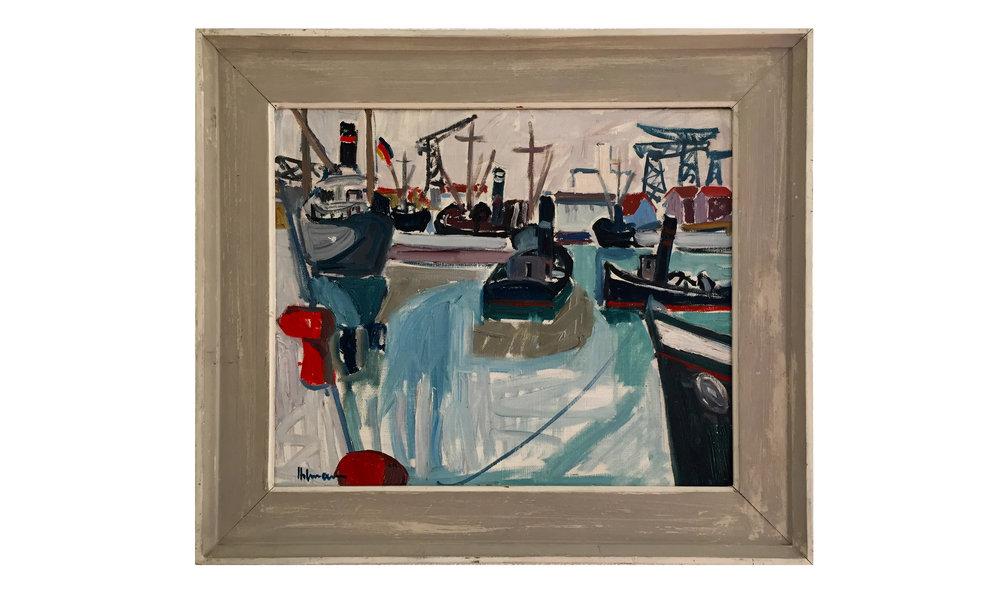 Hafen, Datum unbekannt, 46 x 39 cm, Öl auf Leinwand, Gerahmt in Künstlerrahmen Holz, grau gestrichen,CHF 2'100.–