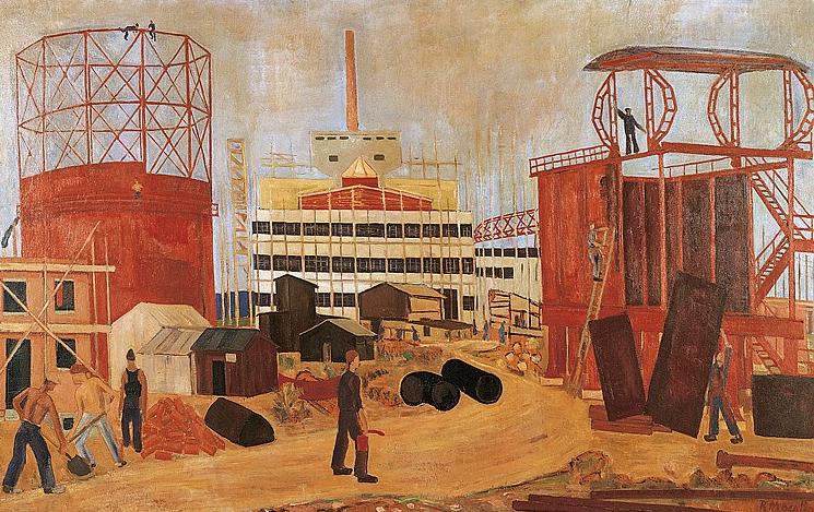 Das neue Gaswerk im Bau, 1931,Copyright: Galerie Carzaniga, Basel