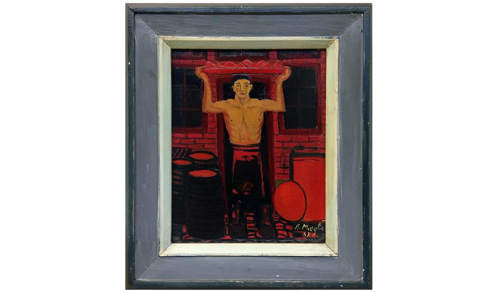 Ohne Titel, 1947, Öl auf Leinwand, 24 x 30 cm, Künstlerrahmen Holz, Rahmenmass 38 x 45 cm, CHF 2'200.–