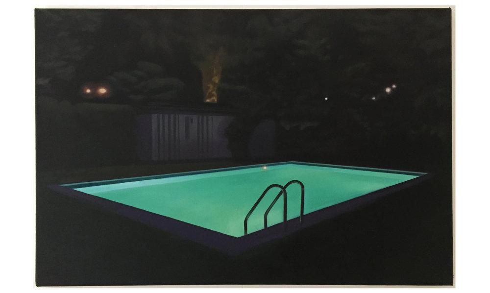 Schwimmbecken bei Nacht, 2013, Öl auf Leinwand, 40 x 60 cm,ohne Rahmen, CHF 1'400.–