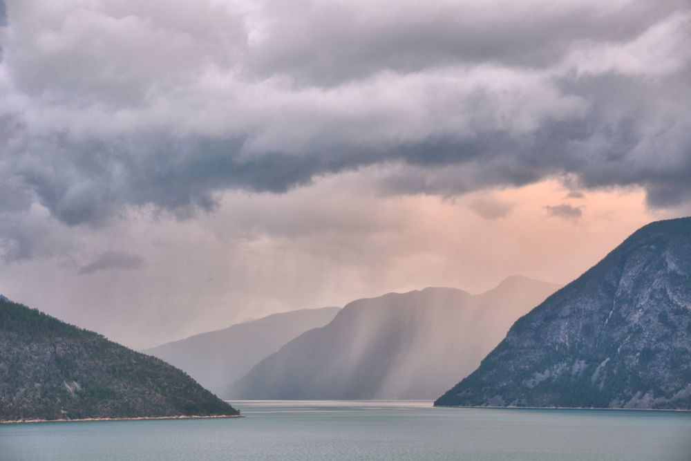 Storm and Light over Lustrafjorden