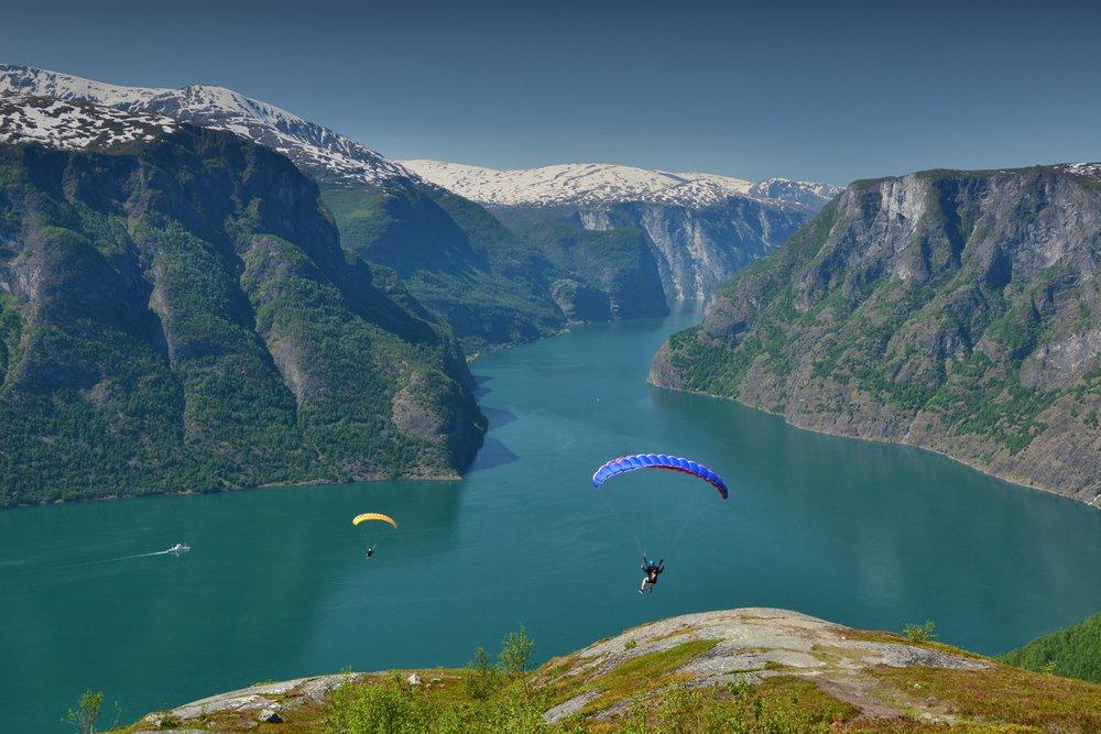 Aurland Speedflying high over fjord