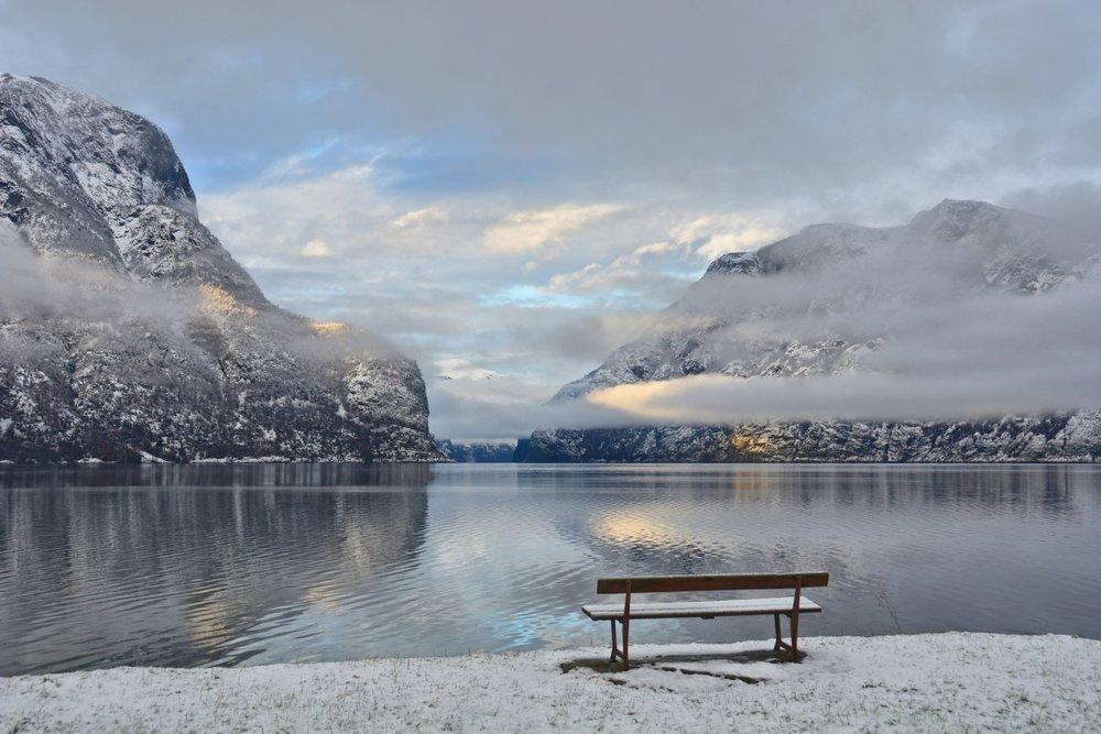 Aurlandsfjord in winter