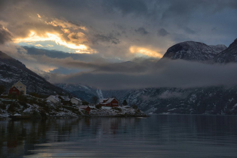Sunset begins in Aurland