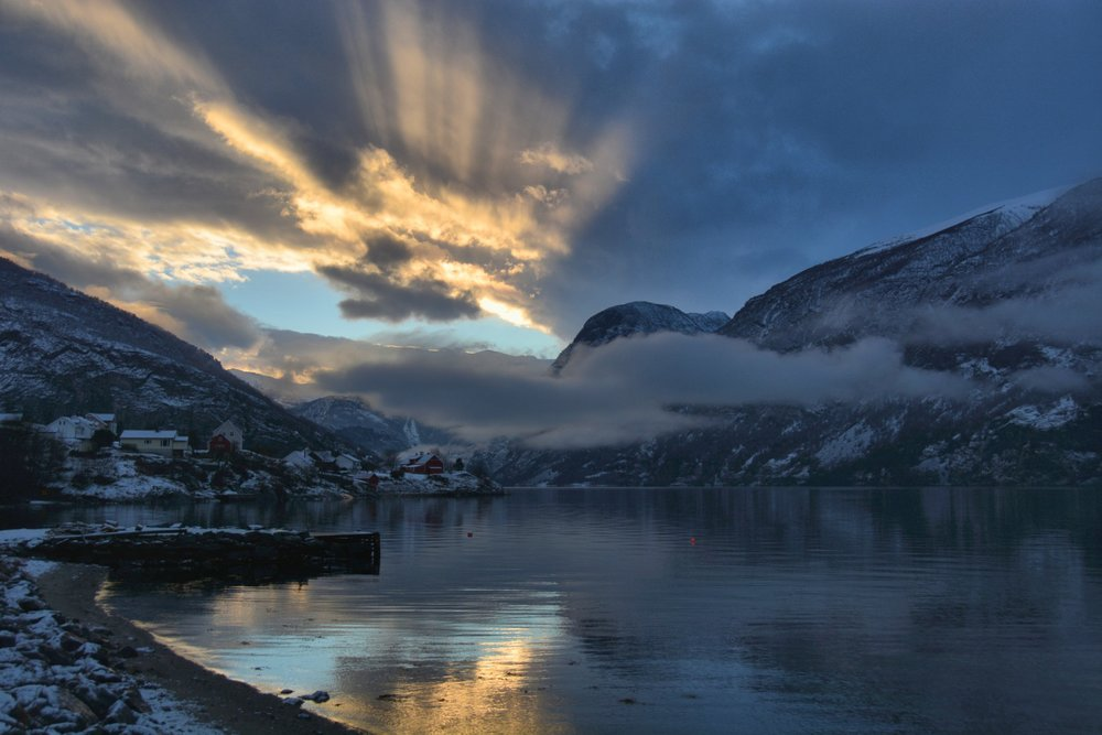 Spectacular sunset in Aurland