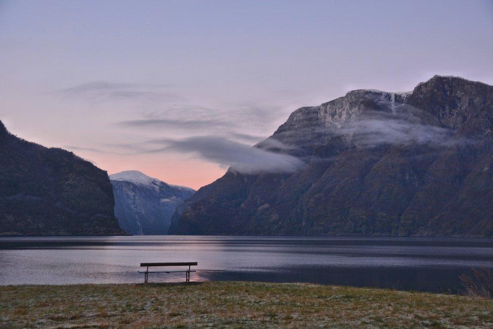 Frosty evening Aurlandsfjord