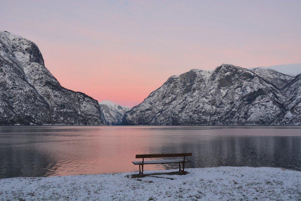 Pink sunrise Aurlandsfjord