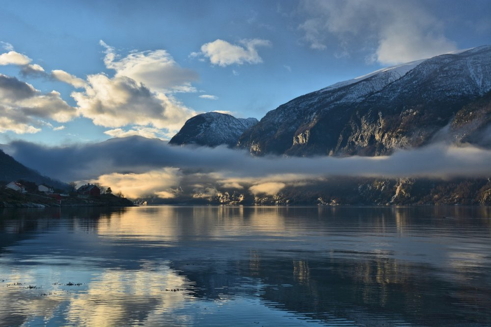 Misty light show on Aurlandsfjord