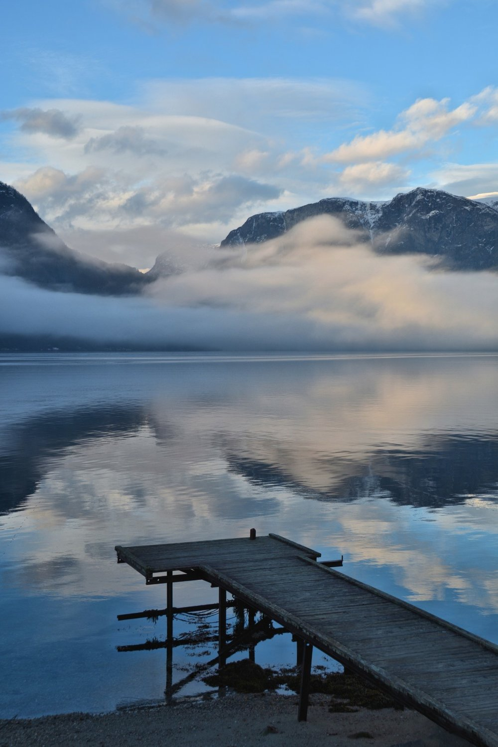 Misty reflections on the fjord