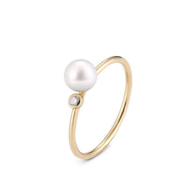 Cassiopeia Cas1 14-carat gold, pearl, diamond 0,04 ct VS, G