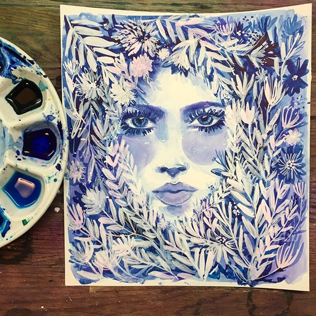 So I went a bit overboard with this one...I didn't mean to suffocate her with foliage 😬 And I know it feels different from my previous stuff, but I kinda like her. Any thoughts? . . . . #art #artistsoninstagram #artwork #moodyblues #tuesdayvibes #watercolor #painting #dailyillustration #illustration #augustbluehues #bluecolor #colorpalette #foliage