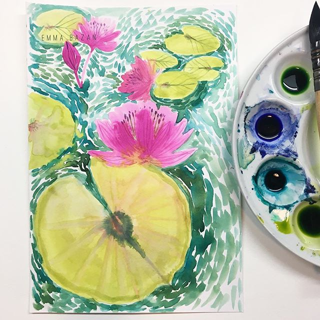 I know Monet was famous for his water lilies, but I think Van Gogh would be most proud. 🤓 . . . . #watercolor #watercolorpainting #sketch #waterlilies #flowerinspiration #flowerfriday #fridayflowers #inky #paintpalette #impressionism #inspiredbynature #inspiredbyart #waterflowers #flowers #flowergram #flowerpainting #nature #illustration #fridayart #art #artistsoninstagram #artist #emmabazan #bellaandbunny #etsyseller #lilypad #lilypads #illustrationnow