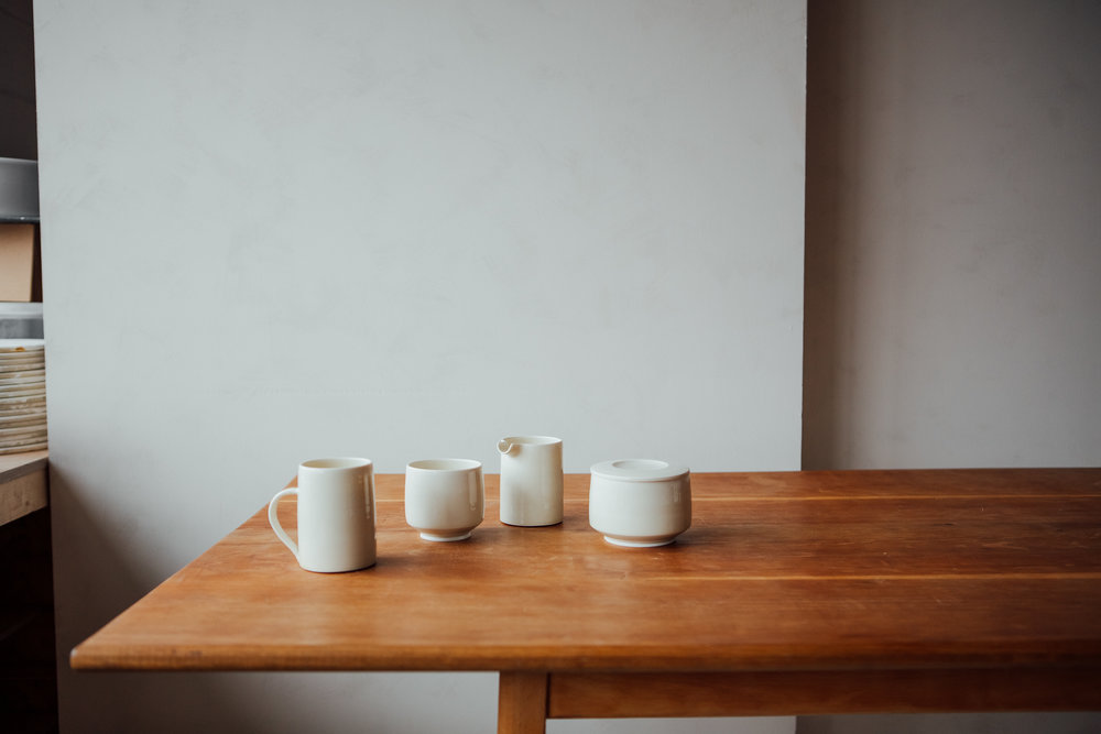 Some of our most simple pieces in Porcelain and wood ash