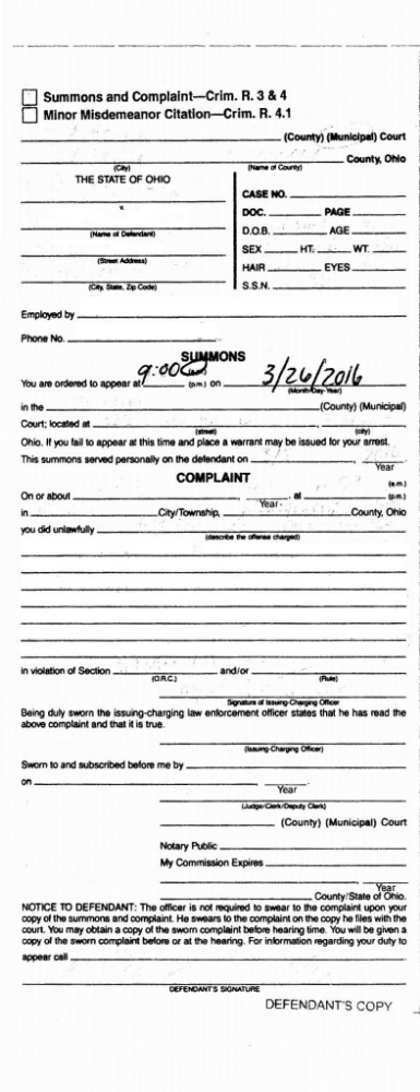 Complaint and Summons for Failure to File an Ohio Sales Tax Return