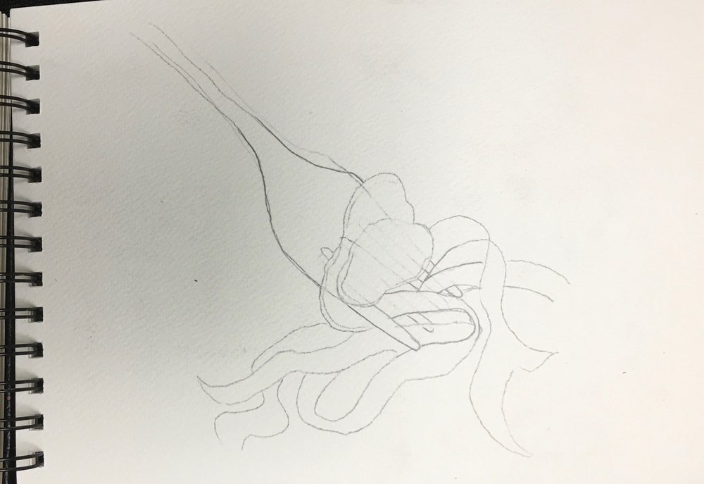 This is the preliminary sketch. After shaping the fork, I added the truffle slices and draping pasta
