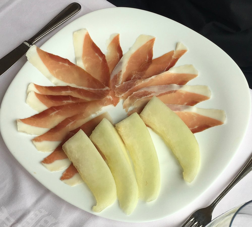 Our friend, Jim, ordered this antipasto for lunch one day. The Prosciutto Melon was served with honeydew instead of cantaloupe and was delicious, as he shared.